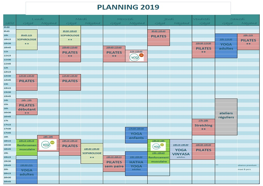 Planning espace Chloro'feel, le Vaudreuil, 2018-2019