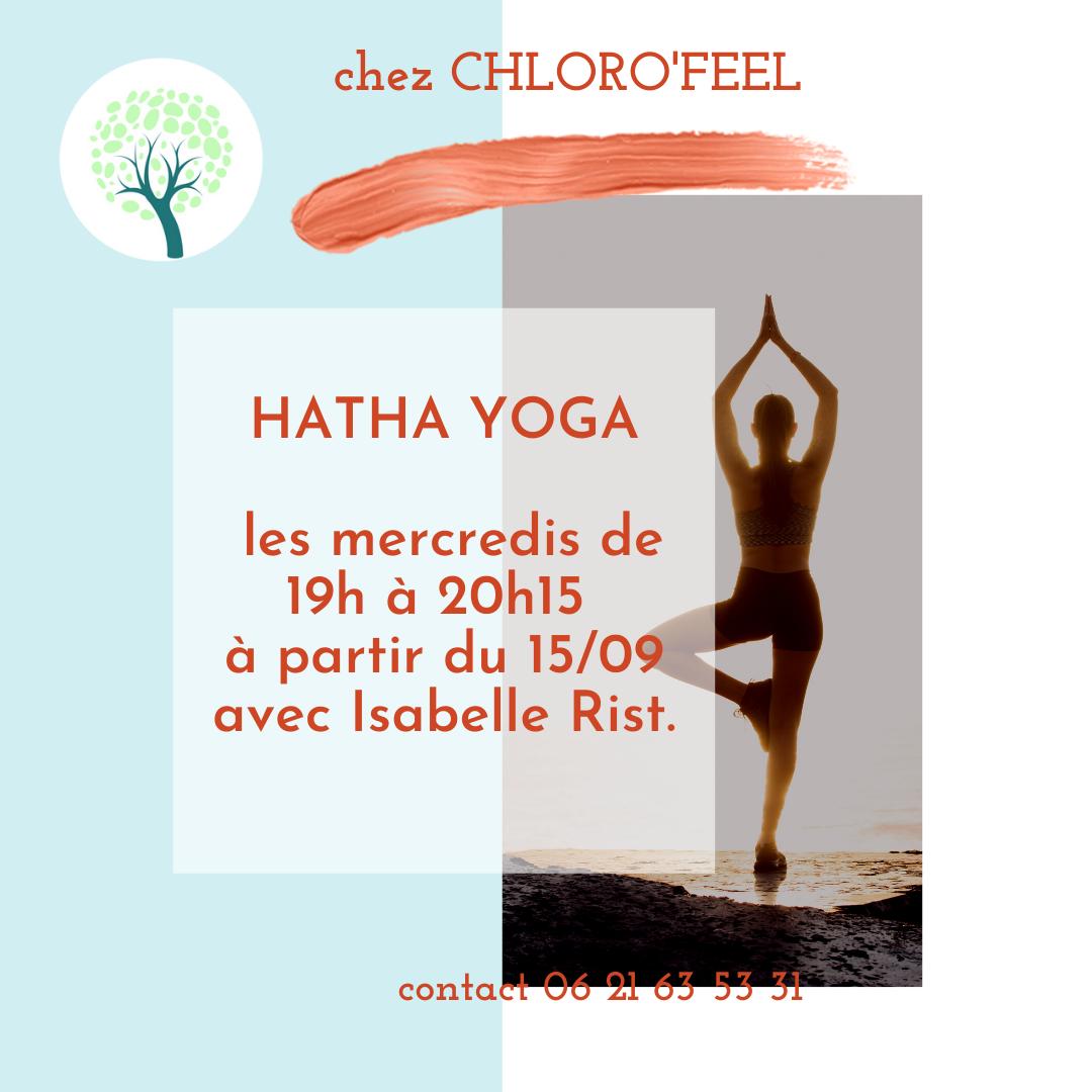 Reprise cours de yoga tous les mercredis de 19h à 20h15 à partir du 1509 avec Isabelle Rist.